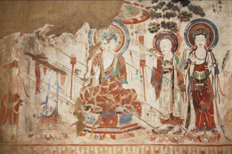 敦煌莫高窟的佛像壁畫(示意)