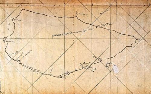 圖1:北港圖。一六二四年荷蘭人占領台灣之初,稱整座島嶼為「北港」(Packan)或「福爾摩沙」。一六二五年荷蘭人雅各.埃斯布蘭特松.諾得洛斯(Jocob I.Noordeloos)完成第一張實地測繪的