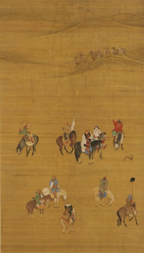 圖2:元朝畫家劉貫道繪製的《元世祖出獵圖》,其中騎著黑馬、身穿白裘的男子是元世祖忽必烈。圖片來源: Wikimedia Commons