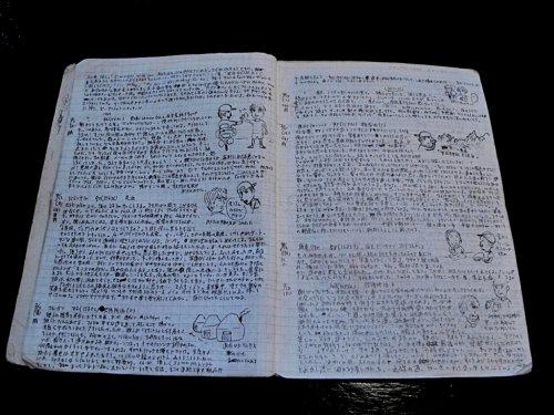石田裕輔環遊世界時的旅行日記,上頭爬滿密密麻麻的字跡,還要預留空間畫插圖,為了節省行李空間,可得省著點用(圖:博客來OKAPI)
